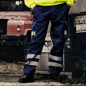 Hi Vis Polycotton Cargo Trousers With Knee Pad Pockets
