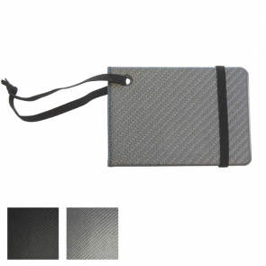 Carbon Fibre Effect Notebook Style Luggage Tag with Elastic Retainer