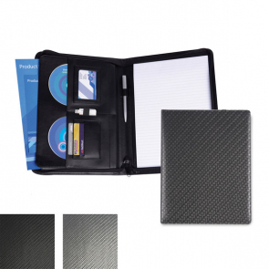 Carbon Fibre Effect PU Deluxe Zipped Conference Folder