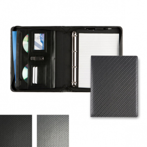 Carbon Fibre Effect Deluxe Zipped Ring Binder