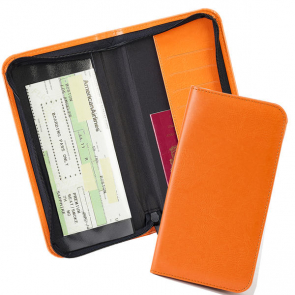 Zipped Travel Wallet with one clear pocket and one material pocket with card slots