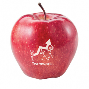 Red Apple With Printed Logo