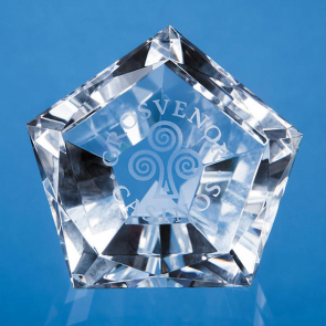 Optical Crystal Facet Pentagon Paperweight