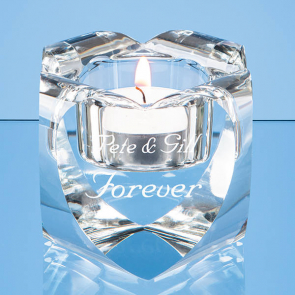 Optical Crystal Heart Tealight Holder