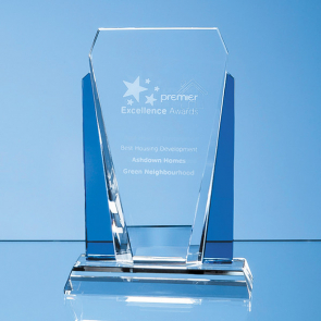 Clear & Sapphire Blue Optical Crystal Sentinel Award