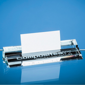 Clear Glass Ruler & Business Card Holder