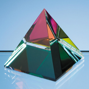 Coloured Optical Crystal 4 Sided Pyramid