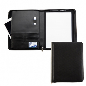 Black Houghton A4 Zipped Conference Folder with padded Tablet Pocket