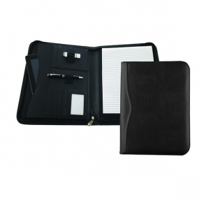 Black Houghton A4 Deluxe Zipped Folder with Padded Tablet Pocket