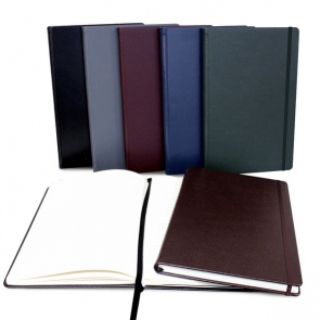 Hampton Leather A5 Casebound Notebook with Elastic Strap and Envelope Pocket