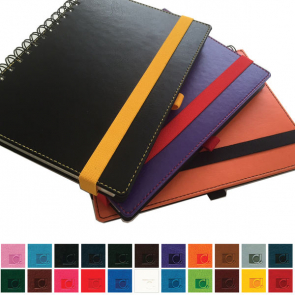 Belluno PU Colours A5 Wiro Notebook with soft touch leather look cover, black board to rear, lined ivory paper