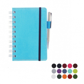 Belluno PU Colours Deluxe A6 Wiro Notebook with soft touch leather look cover and Elastic Pen Loop
