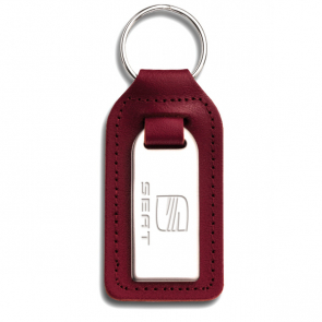 Highly Polished Large Rectangular Shaped Leather Keyfob With Medallion