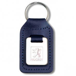 Highly Polished Small Rectangular Shaped Leather Keyfob With Medallion