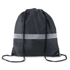 Stripe 190T Drawstring Bag With Reflective Stripe