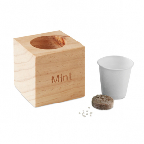 Menta Mint Seeds In Wooden Cube