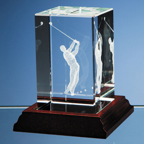 3D Driving Golfer in Large Optical Crystal Block