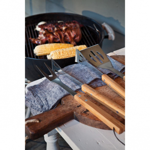 3 Pcs Bamboo Bbq Set