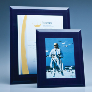 Navy Surround Glass Frame for A4 Photo or Certificate, H or V