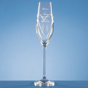 Single Diamante Champagne Flute with Heart Shaped Cutting