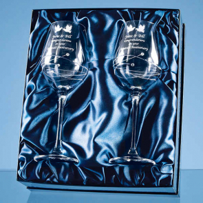 2 Diamante Wine Glasses with Spiral Design Cutting in a Satin Lined Gift Box