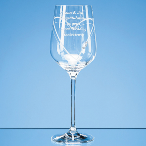 Just For You' Diamante Wine Glass with Heart Shaped Cutting in an attractive Gift Box