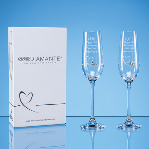 2 Diamante Petit Champagne Flutes with Heart Design in an attractive Gift Box