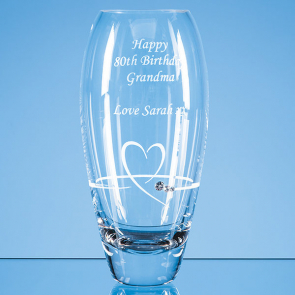 Diamante Petit Vase with Heart Design in an attractive Gift Box