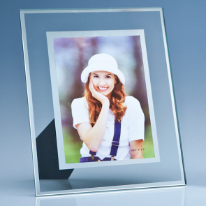 Clear Glass Frame with a Mirror Inlay for Photo, V