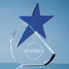 Optical Crystal Circle with a Cobalt Blue Star Award