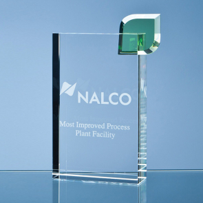 Optical Crystal 'Eco Excellence' Award with a Single Green Leaf