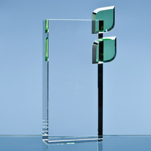 Optical Crystal 'Eco Excellence' Award with Double Green Leafs
