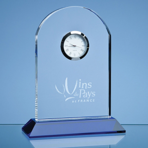 Optical Crystal Arch Clock Mounted on a Cobalt Blue Base