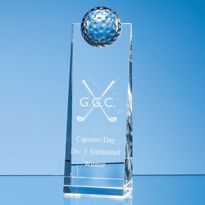 Modern Optical Crystal Golf Ball Rectangle Award