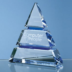 Clear Optical Crystal Luxor Award with Cobalt Blue Lines