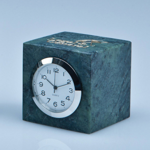 Green Marble Bevel Edged Cube Clock