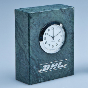Green Marble Bevel Edged Rectangle Clock