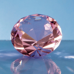 Optical Crystal Pink Diamond Paperweight