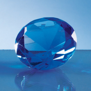 Optical Crystal Blue Diamond Paperweight