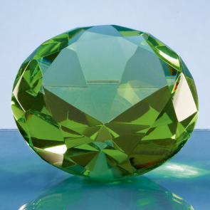 Optical Crystal Green Diamond Paperweight