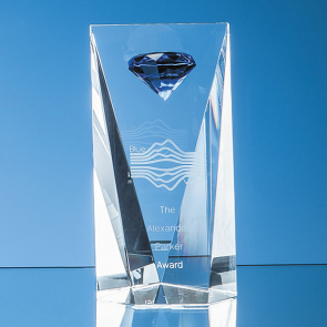 Optical Crystal Facet Rectangle with a Mounted Sapphire Blue Diamond