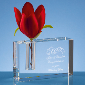 Optical Crystal Rectangle Bud Vase