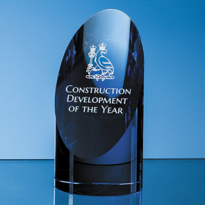 Clear & Sapphire Blue Optical Crystal Cylinder Award