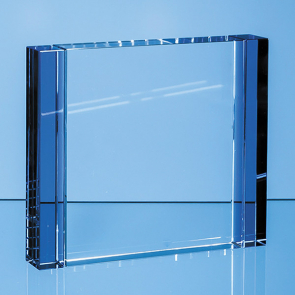 Clear & Cobalt Blue Optical Crystal Column Rectangle Award