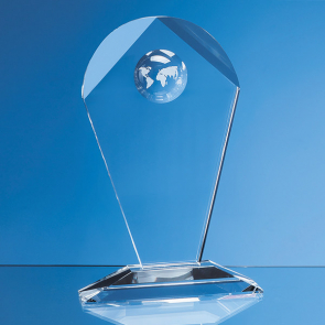 Optical Crystal Arch Award with Recessed Globe