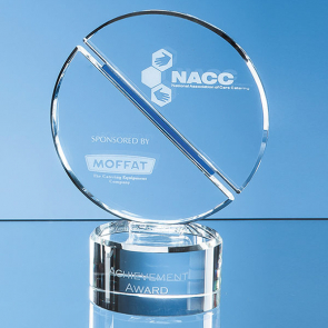 Optical Crystal Mounted Circle Award with a Single Diagonal Cobalt Blue Line