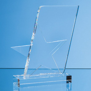 Optical Crystal Mounted Angled Star Award
