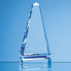 Clear Optical Crystal Cenotaph Award with a Single Cobalt Blue Line