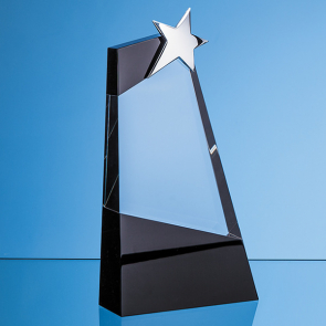 Clear & Onyx Black Optical Crystal Slope Award with Silver Star