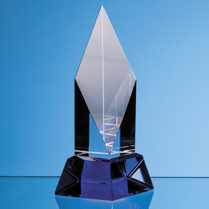 Clear Optical Crystal Diamond Mounted on a Cobalt Blue Base